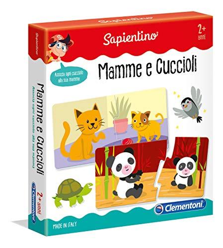 Clementoni - 11969 - Sapientino - Mamme e Cuccioli tessere illustrate, 12 mini puzzle - gioco educativo 2 anni - progressive puzzle incastro animali - Made in Italy