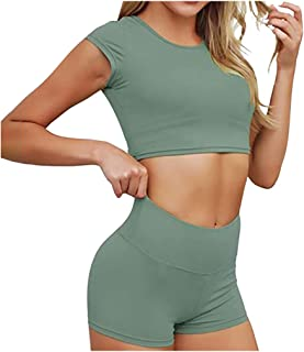 Allywit Fashion Womens Sexy Solid Yoga Crop Top Sports Fitness Set Elastic Tops+Pants