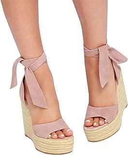 Womens Lace Up Platform Wedge Espadrille Heel Peep Toe Slingback D'Orsay Sandals