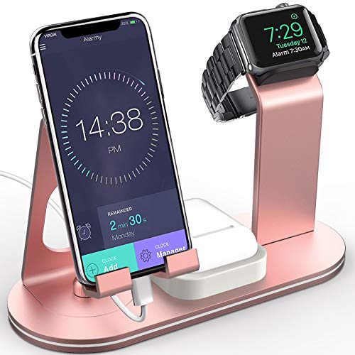 OLEBR Charging Stand Aluminum 4 in 1 Compatible for iWatch Series 5/4/3/2/1, AirPods and iPhone 11/ iPhone 11 Pro/iPhone 11 Pro Max/Xs/X Max/XR/X/8/8Plus/7/7 Plus /6S /6S Plus/iPad - Rose Gold OB04