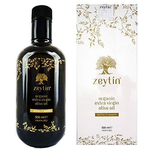 Zeytin Premium Extra Virgin Olive Oil - ORGANIC I Early-Harvest I Healthy & Clean I Cold Pressed I Single-Source I VEGAN I KETO (Buttery & Smooth, 500 ml (16.9 oz)