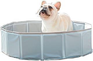 猫 犬 ベビー用 折りたたみプール ペット用バスタブ 空気不要 底に水抜き栓付き 大中小型犬に適用(80x20㎝)アウトドアも屋内も使用可能 桜色とライトブルー (ライトブルー)