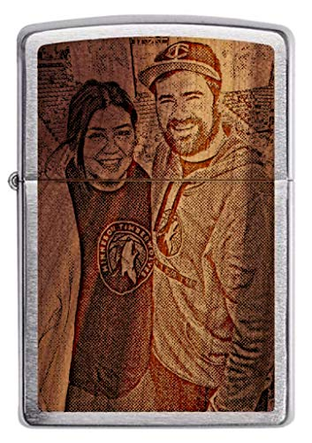 Zippo Customized Engraved Lighter - Personalized Custom Single Side Photo Laser Engraving Woodchuck USA Cedar on Brush Chrome Great Gift for Weddings, Groomsman, (Photo)