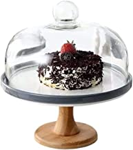 C-J-Xin Porcelain Serving Platter, Fruit Preservation Cover Glass Dome Ice Cream Biscuits Cover Western Restaurant Wedding Tray Two-Tone Glass Cover Dome (Color : Gray, Size : 11 * 11 * 12In)
