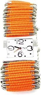 PlanetZia Beautiful Stretch Safety Pin Watch with Orange Glass Beads HMN-ORN