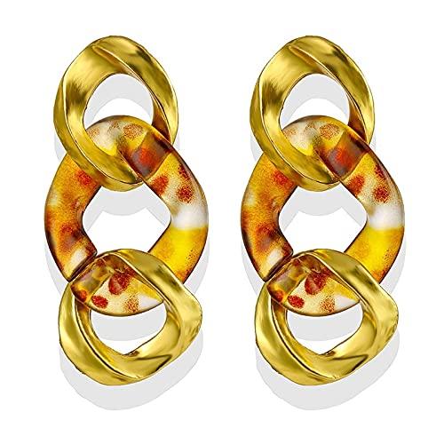 FEARRIN Pendientes para Mujer, Pendientes de Gota de Oro Vintage para Mujer, Pendiente Grande de Metal para Mujer,joyería geométricaBrincos, Regalo de Fiesta LNI1274-1