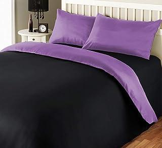 iBed Home 180 TC Two Tone Comforter Set, Black/Lavender, Single - 160 x 220 cm, 2BLCKLAV-SNGL, 4 Pieces