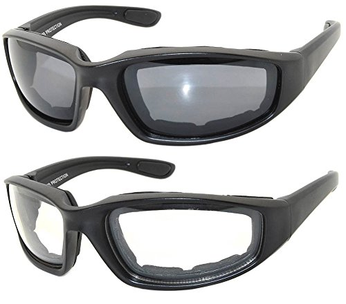 2 Pairs Black Motorcycle Padded Foam Glasses Smoke Lens & Clear Lens OWL