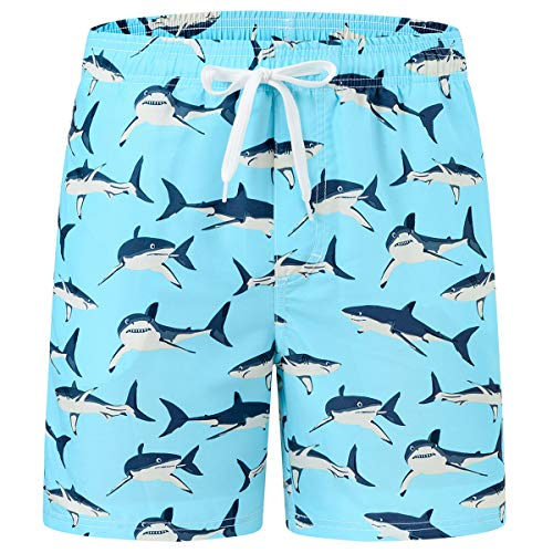 AIRIKE Schwimmshorts Jungen Schnelltrocknend Badehose Cute kurz Badeshorts mit Taschen Hellblau Hai XL/DE 164-170