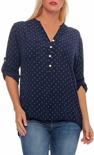 Malito Damen Bluse mit Anker Print | Tunika mit ¾ Armen | Blusenshirt auch Langarm tragbar | Elegant - Shirt 9013 (dunkelblau)