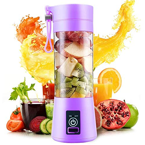 TIMESOON Portable Blender, Personal Size Electric Rechargeable USB Juicer Cup, Fruit Mixer Machine with 4 Blades for Home and Travel (380 ml, Multicolor)