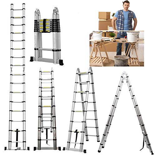 ZhanGe A-Frame Telescopic Ladders 16.5Ft/5M (2.5M+2.5M), Aluminium Extension Portable Ladder for Outdoor Indoor Home Loft Office, Solid Quality with Anti Slip Rubber