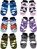 6 Pairs Kids Winter Snow Mittens Waterproof Warm Ski Gloves Unisex Camouflage Gloves for Cold Weather Children (3-5T)