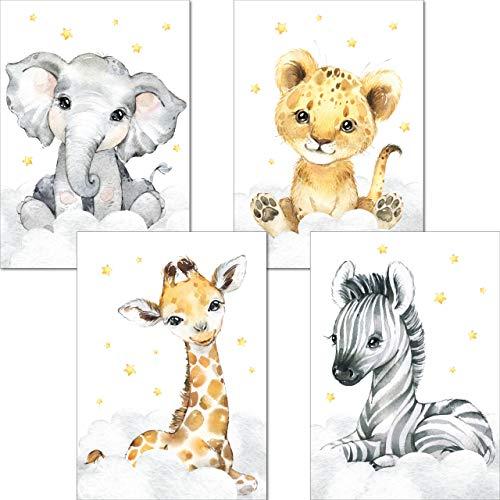 LALELU-Prints | A4 Bilder Kinderzimmer Deko Mädchen Junge | Zauberhafte Safari-Tiere | Poster Babyzimmer | 4er Set Kinderbilder (DIN A4 ohne Rahmen)