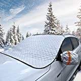 BESTTRENDY Car Windshield Snow Cover 62X48 ' With 4 Layers Protection Fits Most Car SUV Truck Van Protect Front Window Side Mirror Against Sun Snow Ice Frost Dust and Fallen Leaves