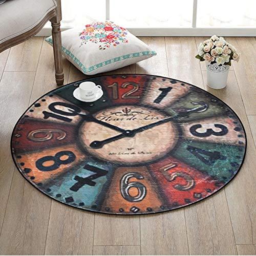Gcci Tapis Tapis Moquette vintage horloges murales Tapis rond, une salle de coussins pour enfant Chaise de bureau Tapis de sol, salon, chambre à coucher Panier Panier Tapis, Diameter 120CM