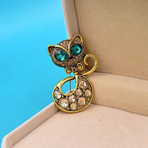 WANM Broche De Gato Vintage con Diamantes De Imitación, Broche De Ojo Verde, Broches De Animales para Mujer, Regalo De Joyería