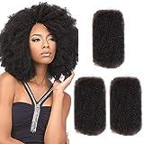 Style Icon 3 Bundles Afro Kinkys Bulk Human Hair (10'/10'/10', Natural Black) - Afro Twist Braiding Hair - Curly Hair Extensions Human Hair - Afro Bulk Braiding Hair for Dreadlocks - Loc Braiding Hair