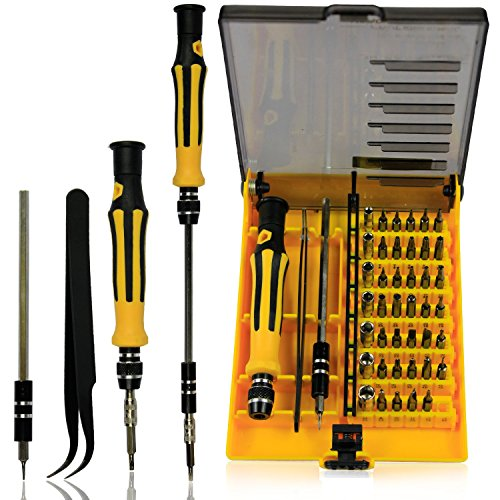 GoodQbuy 45 in 1 Portable Opening Magnetic Precision Tool Compact Screwdriver Kit Set with Tweezers & Extension Shaft for Precise Repair or Maintenance Phone PC Computer Laptop Repair Tool