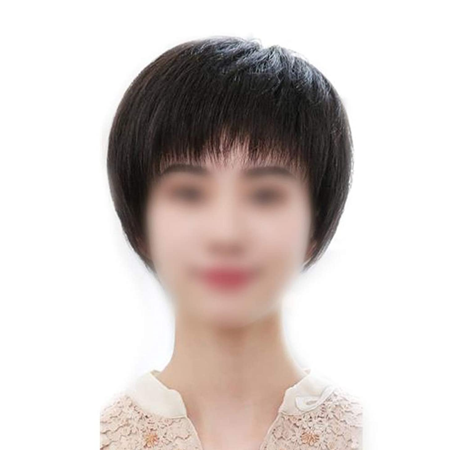 強風関係立場Yrattary 女性用ショートヘアフルハンドウィッグリアルヘアウィッグリアルなナチュラルルッキングロールプレイングウィッグキャップ (色 : Natural black)