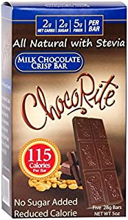 ChocoRite - High Protein Diet Bar   Milk Chocolate Crisp   Low Calorie, Low Fat, Sugar Free, Cholesterol Free (5/Box)
