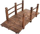 HAPPYGRILL 5FT Wooden Bridge Natural Wood Garden Bridge Pond Bridge with Guardrails for Garden Backyard Decoration