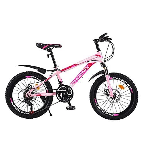 Axdwfd Infantiles Bicicletas Bicicleta para Niños De 20 Pulgadas con Pedales para Niños Y Niñas, Ruedas De Entrenamiento Extraíbles, Frenos, Rosa