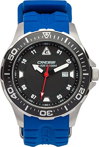 Cressi Manta Reloj Submarino, Unisex Adulto, Plata/Negro/Azul, Uni