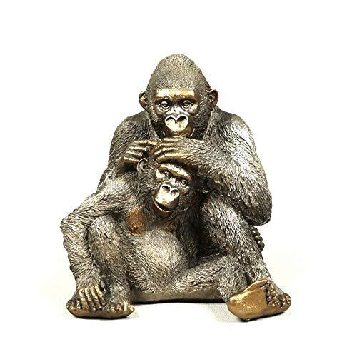 Statuen Dekoartikel & Figur Skulpturen Figuren Dekoartikel Tierstatuen Gartenfiguren Handgemachte Silberrücken Gorilla Statue Harz Vater Und Sohn Affe Skulptur Wildtier Liebe Handwerk Dekoration