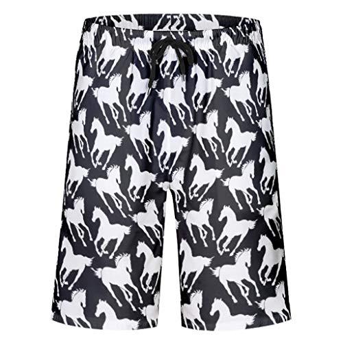 EUNNT Jungen Hose Strand Mikrofaser Badeanzug weißes Pferd schwarzer Hintergrund Boardshorts mit Taschen XXL weiß