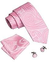Barry.Wang Elegant Pink Ties for Men Paisley Handkerchief Cufflinks Set