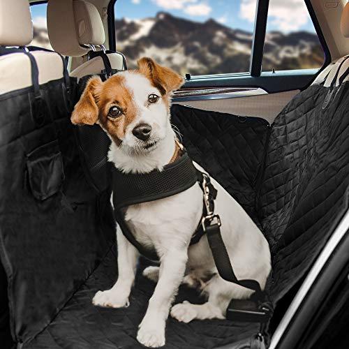 HundeHero Hundedecke - [1x] Hundedecke Auto Rückbank mit [2X] Befestigung für Haltegriffe - inkl. Aufbewahrungstasche & Anschnaller für den Hund - Wasser- & schmutzabweisend - doppelte Nähte
