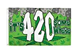 It's 420 Somewhere 3x5 Foot Marijuana Pot Flag - Bold Vibrant Colors, UV Resistant, Golden Brass Grommets, Durable 100 Denier Polyester, Mighty-Locked Stitching - Perfect for Indoor or Outdoor Flying!