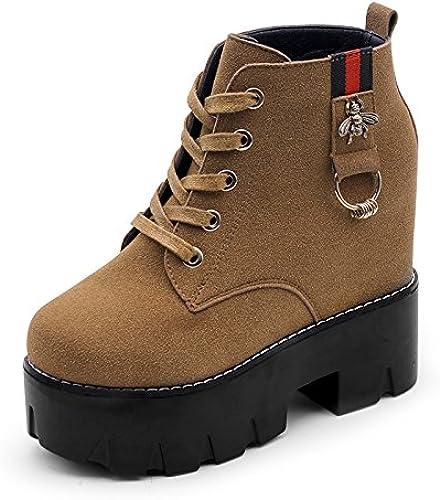 AGECC mujer Ladies Winter Martin botas zapatos de mujer en el Viento Estudiantes Heel Heel botas Stiletto Heels botas Cortas Buena Suerte para ti
