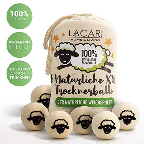 Lacari ® [6x] XXL Trocknerbälle für Wäschetrockner - Der natürliche Weichspüler aus 100% Schafwolle - In Handarbeit gefertigt - Pflegt die Wäsche besser