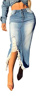Onsoyours Donna Gonne di Jeans Strappata Spacco Irregolare Asimmetrica Maxi Gonna Casual Moda Svasata Gonna Cocktail Gonna...