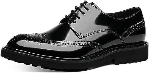 LYMYY Charol zapatos de cuero BROGUE Tallado Oxford zapatos de estilo clásico de los zapatos de vestir jóvenes cordones de moda zapatos de negocios