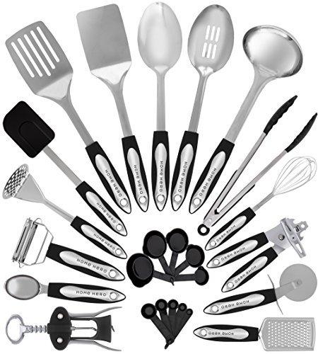 Home Hero Stainless Steel Kitchen Cooking Utensils - 25 Piece Kitchen Utensil Set - Nonstick Kitchen Utensils Cookware Set with Spatula Set - Kitchen Gadgets Kitchen Tool Set Cooking Utensils Set