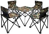 AMANKA Camping-Tisch-Set Falttisch mit 4 Klappstühlen inkl. Tragetasche Picknick Set Klapptisch Falthocker für Campen Angeln Wandern BBQ Ausflug Camouflage Tarnfarbe