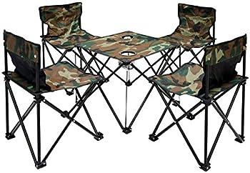 AMANKA Table de Camping + 4 Chaises + Sac de Transport 60x22x24cm   Pliant léger Petit Portable   pour Pique-Nique Festival grillade randonnée pêche Parc   Camouflage Vert