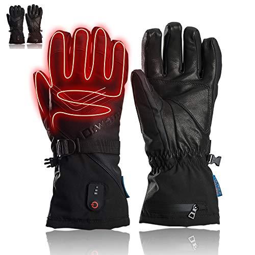 Beheizbare Handschuhe für Männer und Frauen, Schafsleder 7.4 2600mAhWiederaufladbare Batterie Heizhandschuhe Wasserdicht Handwärmerhandschuhe zum Radfahren, Motorradfahren, Wandern, Skifahren (XL)
