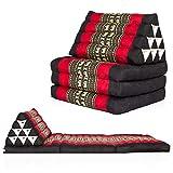 Kitama Cojín de asiento de Tailandia, cojín de meditación y cojín de yoga con relleno de kapok, cojín tradicional tailandés con 3 cojines, cojín de suelo y colchoneta de 170 x 50 cm, rojo y negro