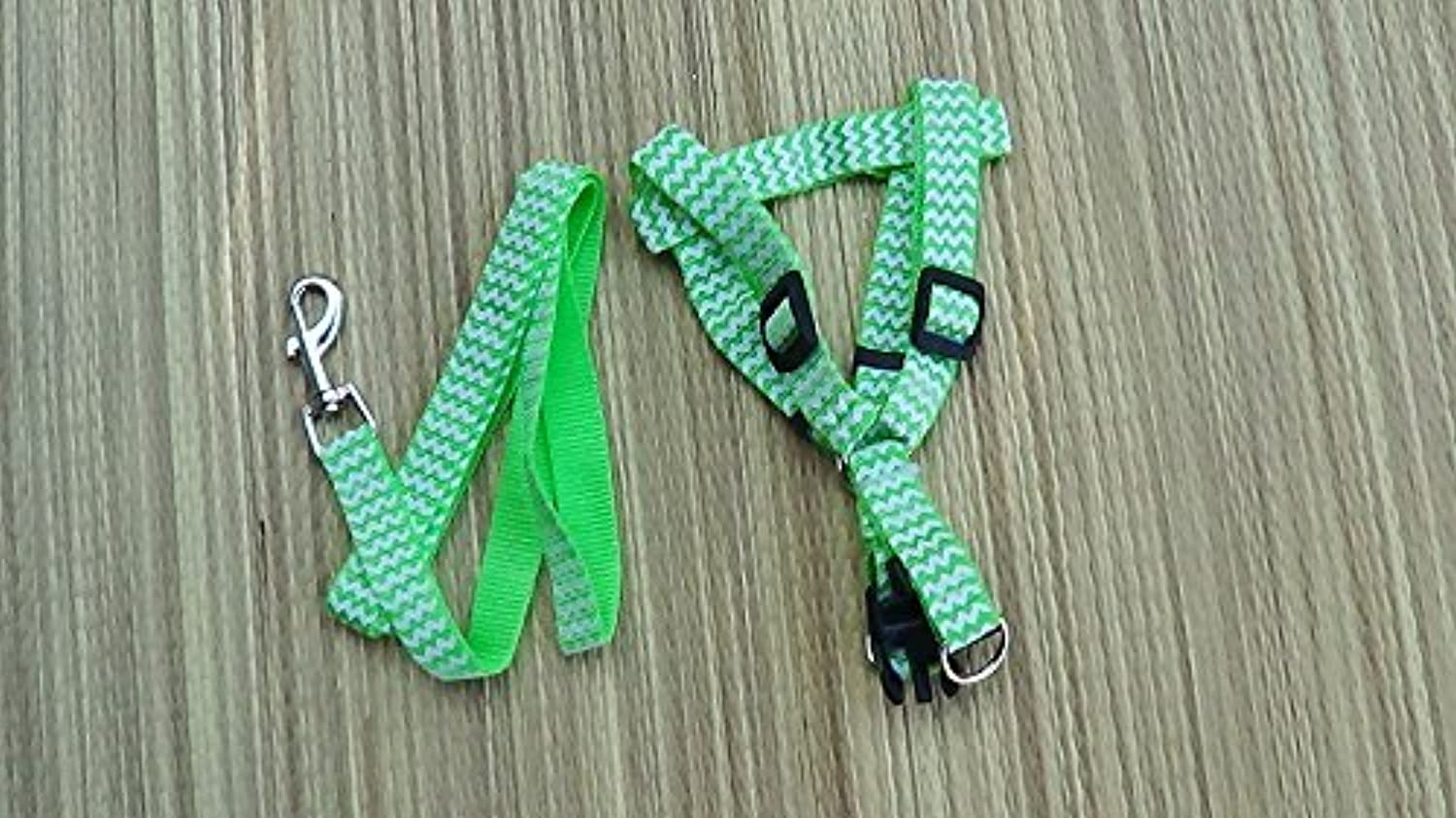 Dog Harness and Leash Set (Green White Waves)