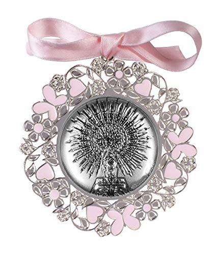 DOCOLASTRA Medalla de cuna o cochecito de la Virgen del Pilar en color rosa o azul en plata bilaminada y esmalte.Personalizable.