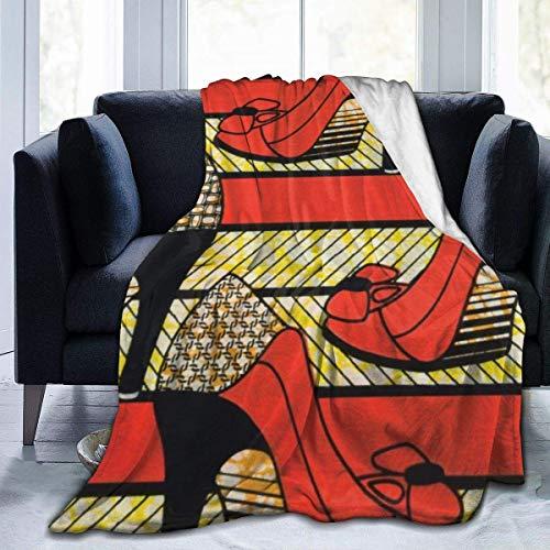 Manta de Microfibra Ultra Suave, Mantas cómodas de Borde Cosido de Tacones Altos africanos, Alfombra térmica portátil de Felpa para sofá Cama