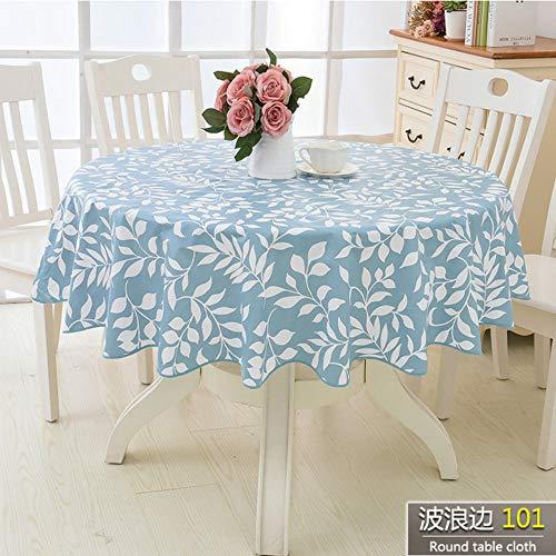 TWTIQ Blumen Stil Runde Tischdecke Pastoralen PVC Kunststoff Küchentischdecke Ölbeständig Dekorative Elegante Wasserdichtes Gewebe Tischdecke color2 152 cm
