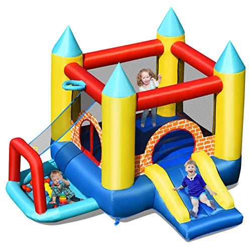 WANGZI Hüpfburg, Mehrfarbig Aufblasbare Hüpfburg Mit Rutsche Springburg Mit 30 Bälle Kinder Spielburg für Kinder (300x280x210cm)