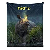Custom Blanket with Name Text,Personalized Animal Rhino Super Soft Fleece Throw Blanket for Couch Sofa Bed (50 X 60 inches)