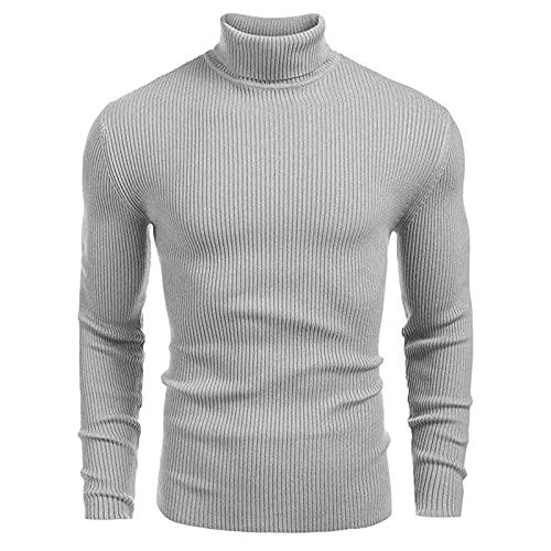 XDJSD Suéteres De Estilo De Otoño E Invierno Suéteres De Hombre Suéteres De Cuello Alto De Manga Larga Camisas De Fondo para Hombre Tops De Hombre Camisetas De Color Sólido