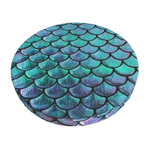 Teal Gold Mermaid DaPattern Removable Washable Round Bar Chair Cushion Cover Elastic Stool Cushion Slipcover 12 Inch